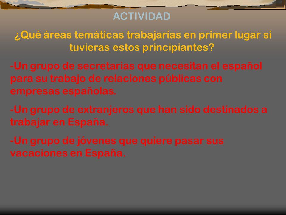 ACTIVIDAD ¿Qué áreas temáticas trabajarías en primer lugar si tuvieras estos principiantes? -Un grupo de secretarias que necesitan el español para su