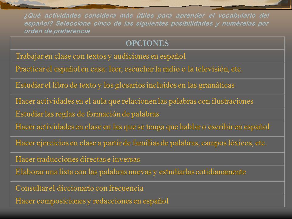 OPCIONES Trabajar en clase con textos y audiciones en español Practicar el español en casa: leer, escuchar la radio o la televisión, etc. Estudiar el