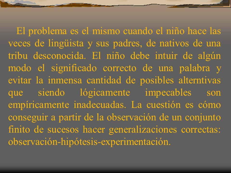 El problema es el mismo cuando el niño hace las veces de lingüista y sus padres, de nativos de una tribu desconocida. El niño debe intuir de algún mod