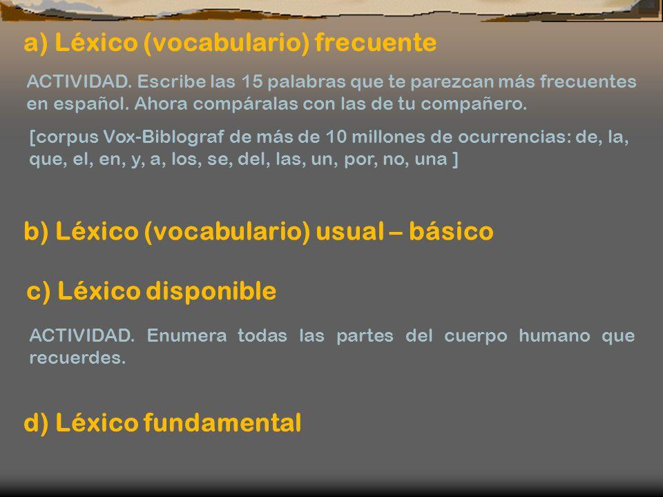 a) Léxico (vocabulario) frecuente ACTIVIDAD. Escribe las 15 palabras que te parezcan más frecuentes en español. Ahora compáralas con las de tu compañe