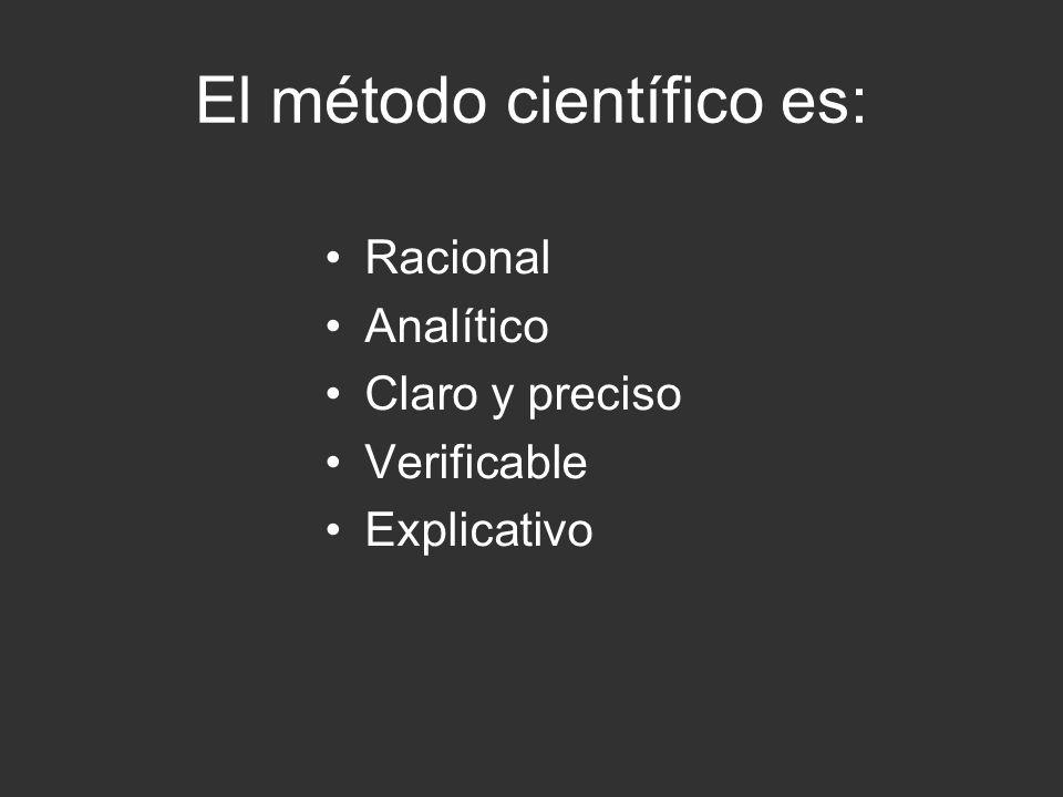 El método científico es racional porque Se basa en la razón, es decir, parte de conceptos, juicios y razonamientos y vuelve a ellos.