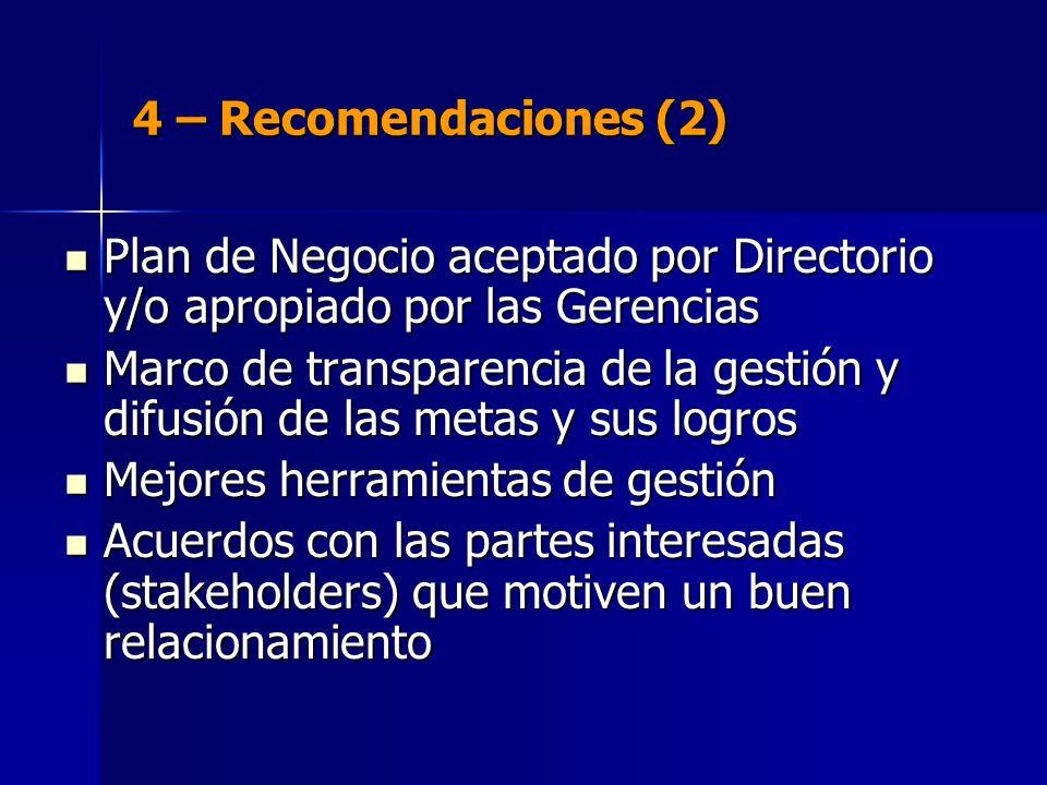 4 – Recomendaciones (2) Plan de Negocio aceptado por Directorio y/o apropiado por las Gerencias Plan de Negocio aceptado por Directorio y/o apropiado por las Gerencias Marco de transparencia de la gestión y difusión de las metas y sus logros Marco de transparencia de la gestión y difusión de las metas y sus logros Mejores herramientas de gestión Mejores herramientas de gestión Acuerdos con las partes interesadas (stakeholders) que motiven un buen relacionamiento Acuerdos con las partes interesadas (stakeholders) que motiven un buen relacionamiento