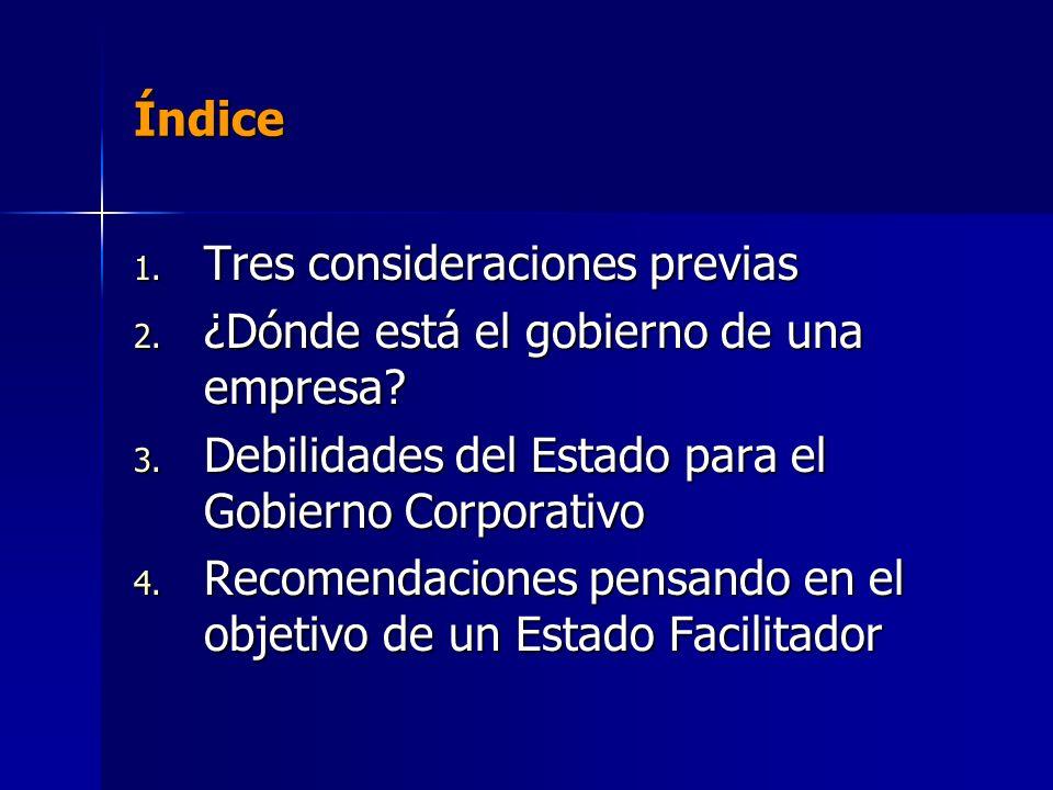 Índice 1. Tres consideraciones previas 2. ¿Dónde está el gobierno de una empresa.