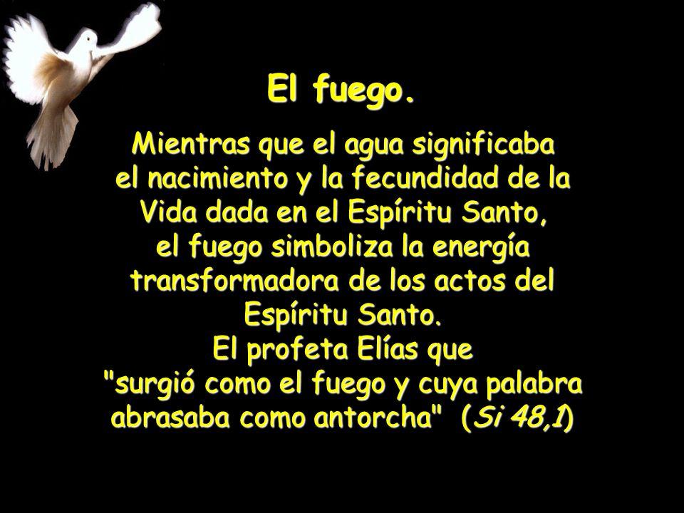 La unción. El simbolismo de la unción con el óleo es también significativo del Espíritu Santo, se ha convertido en sinónimo suyo.