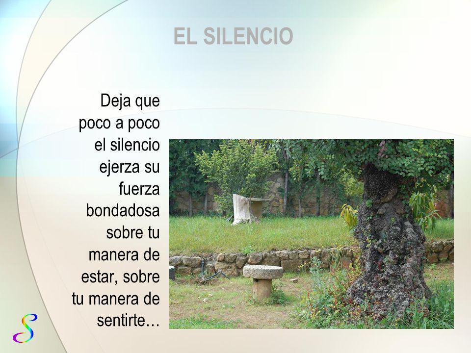 EL SILENCIO Deja que poco a el silencio ejerza su fuerza bondadosa sobre tu manera de estar, sobre tu manera de sentirte…