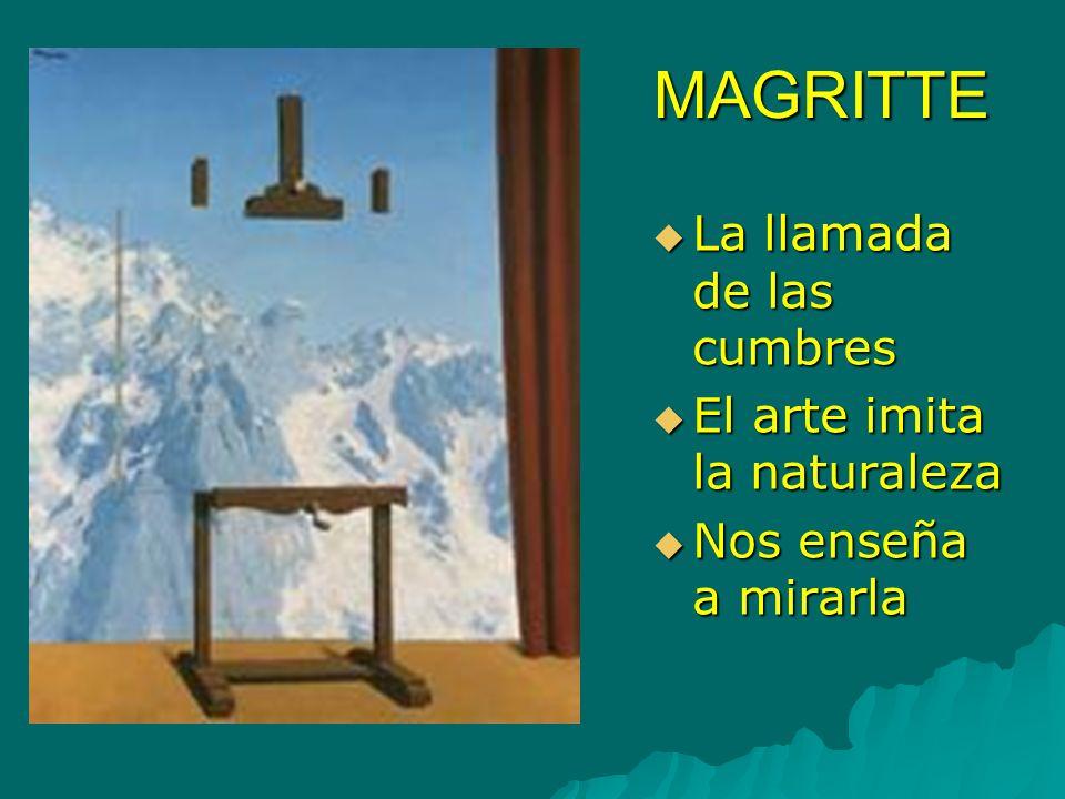 MAGRITTE La llamada de las cumbres La llamada de las cumbres El arte imita la naturaleza El arte imita la naturaleza Nos enseña a mirarla Nos enseña a