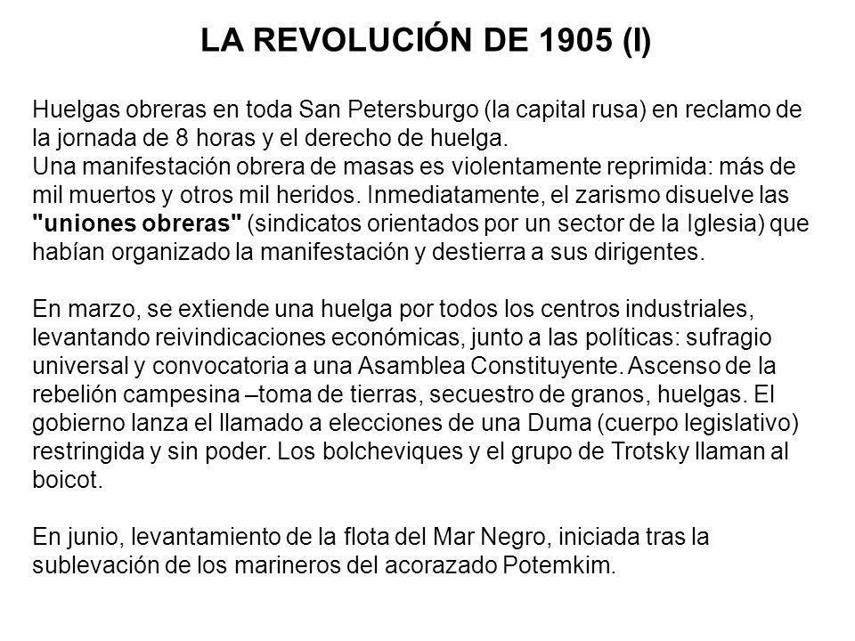 LA REVOLUCIÓN DE 1905 (I) Huelgas obreras en toda San Petersburgo (la capital rusa) en reclamo de la jornada de 8 horas y el derecho de huelga. Una ma