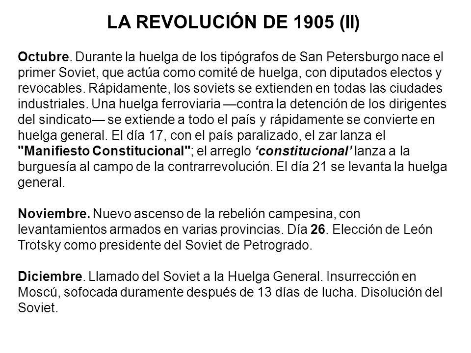 LOS AÑOS SIGUIENTES 1906-1912: Años de reacción política.