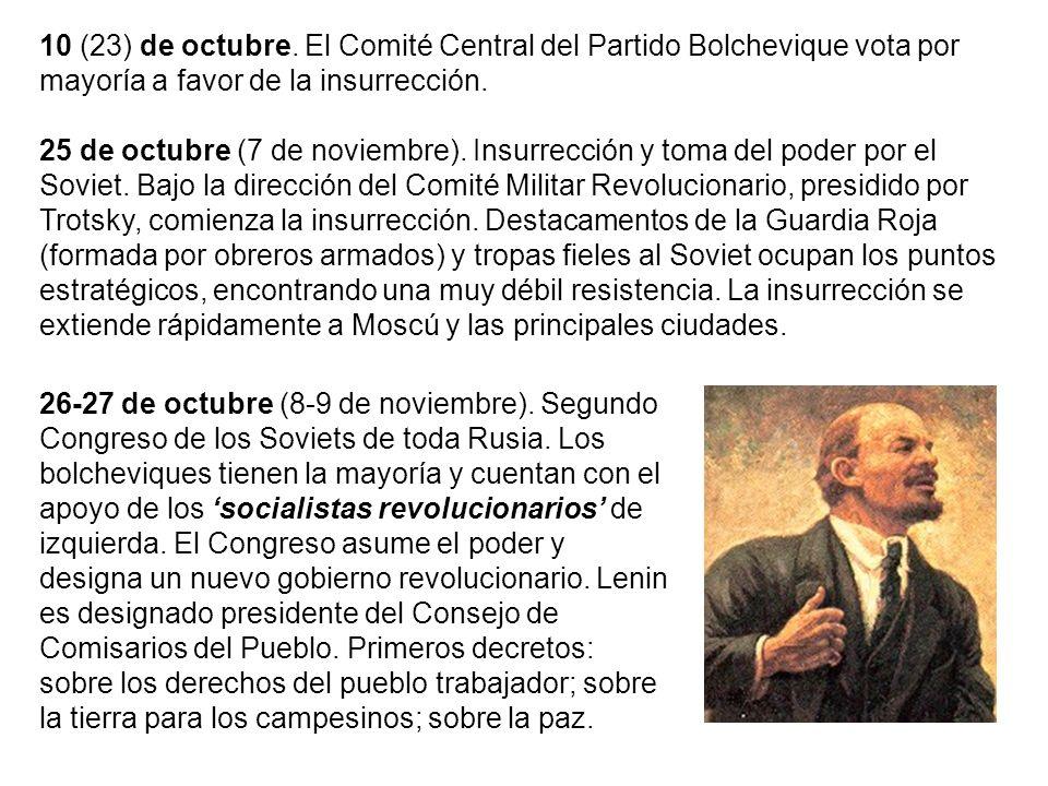 10 (23) de octubre. El Comité Central del Partido Bolchevique vota por mayoría a favor de la insurrección. 25 de octubre (7 de noviembre). Insurrecció