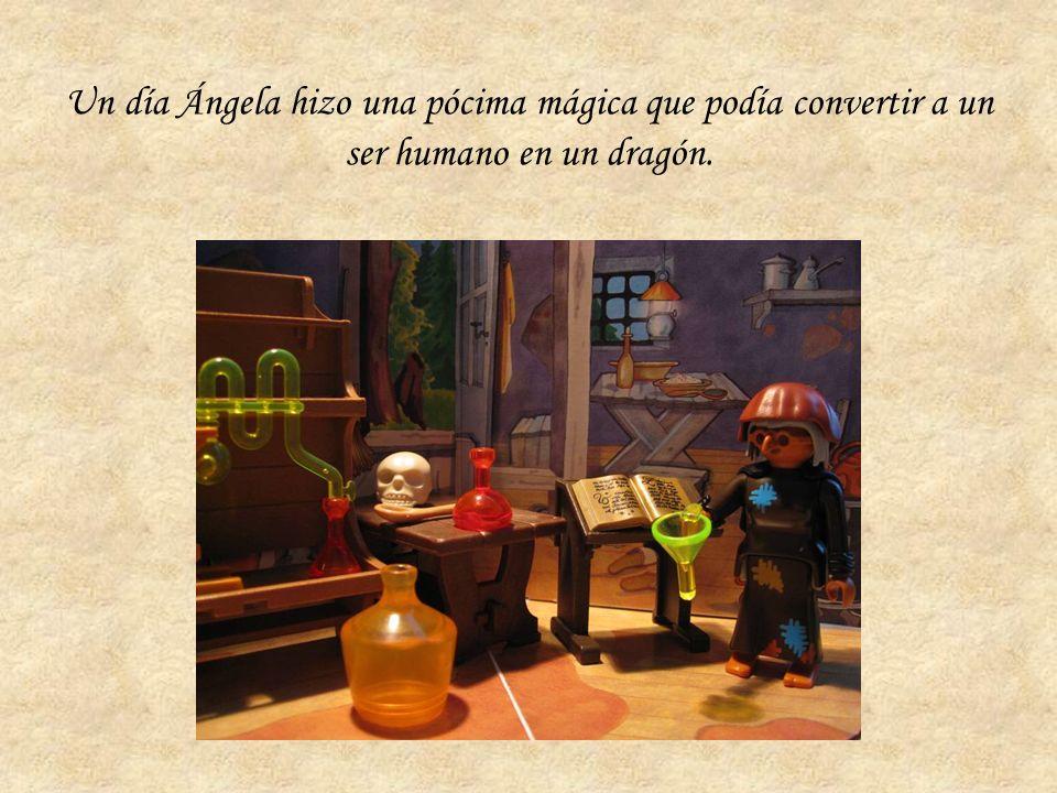 Un día Ángela hizo una pócima mágica que podía convertir a un ser humano en un dragón.