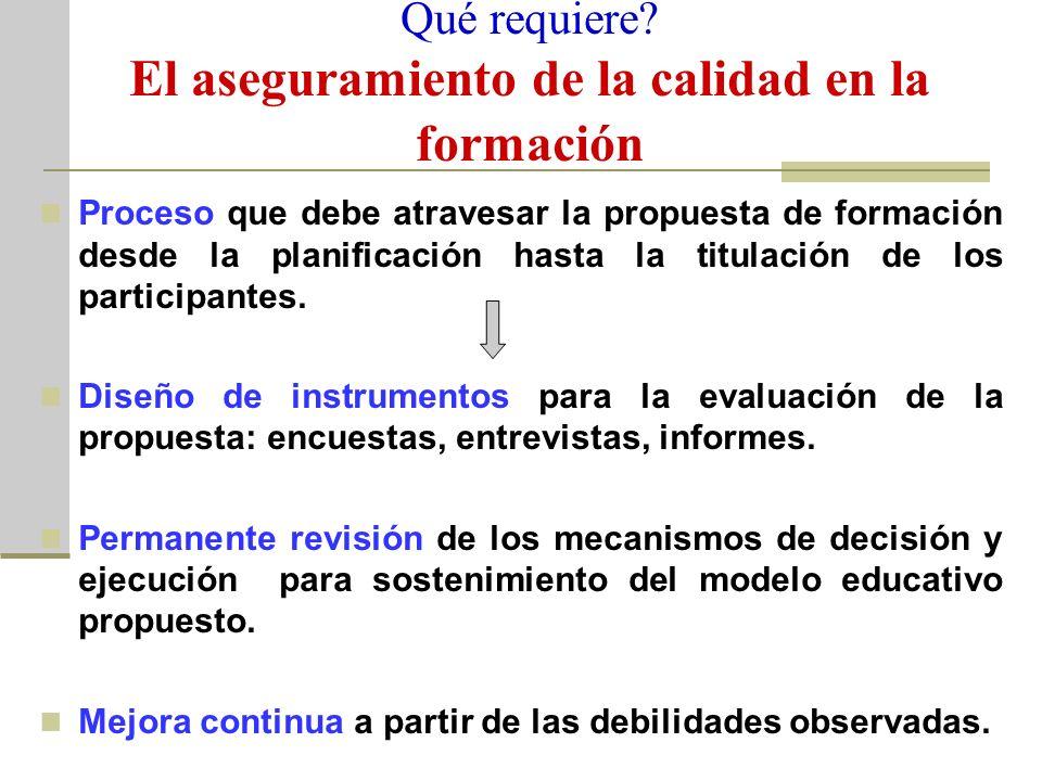 Qué requiere? El aseguramiento de la calidad en la formación Proceso que debe atravesar la propuesta de formación desde la planificación hasta la titu