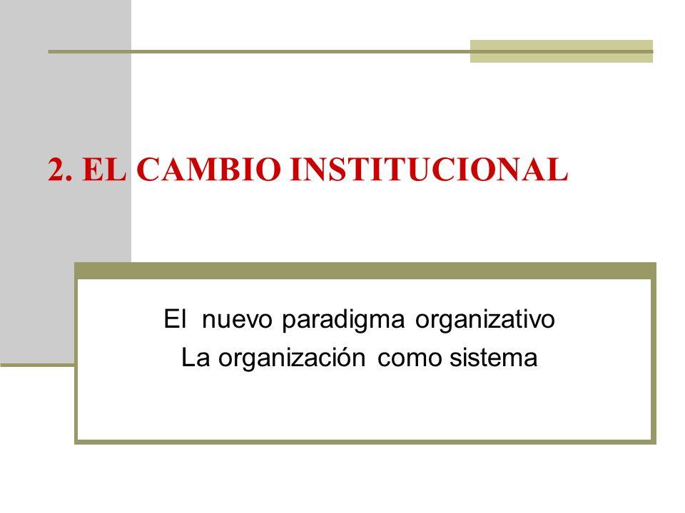 2. EL CAMBIO INSTITUCIONAL El nuevo paradigma organizativo La organización como sistema