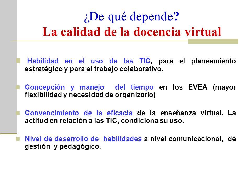 ¿De qué depende? La calidad de la docencia virtual Habilidad en el uso de las TIC, para el planeamiento estratégico y para el trabajo colaborativo. Co