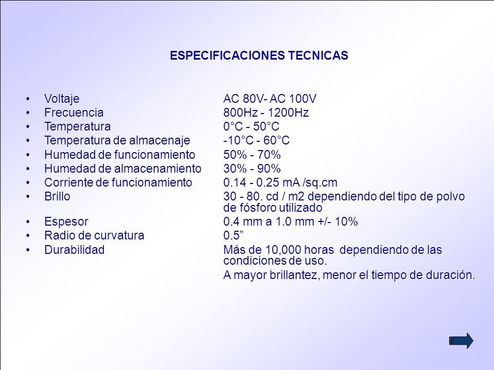 5 VoltajeAC 80V- AC 100V Frecuencia 800Hz - 1200Hz Temperatura 0°C - 50°C Temperatura de almacenaje-10°C - 60°C Humedad de funcionamiento50% - 70% Humedad de almacenamiento30% - 90% Corriente de funcionamiento0.14 - 0.25 mA /sq.cm Brillo30 - 80.