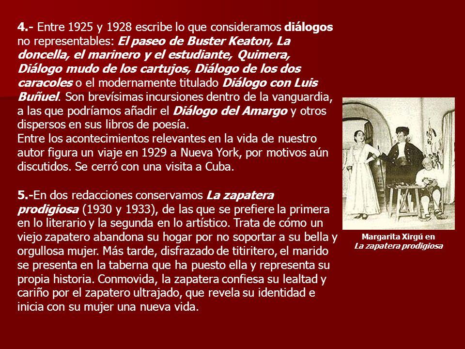 4.- Entre 1925 y 1928 escribe lo que consideramos diálogos no representables: El paseo de Buster Keaton, La doncella, el marinero y el estudiante, Quimera, Diálogo mudo de los cartujos, Diálogo de los dos caracoles o el modernamente titulado Diálogo con Luis Buñuel.