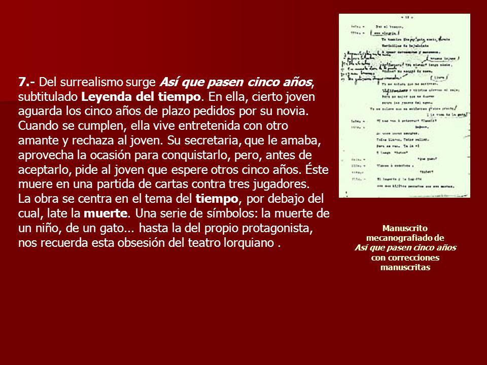 8.- En esta misma línea de teatro irrepresentable escribe El público (h.1930), drama en cuadros.
