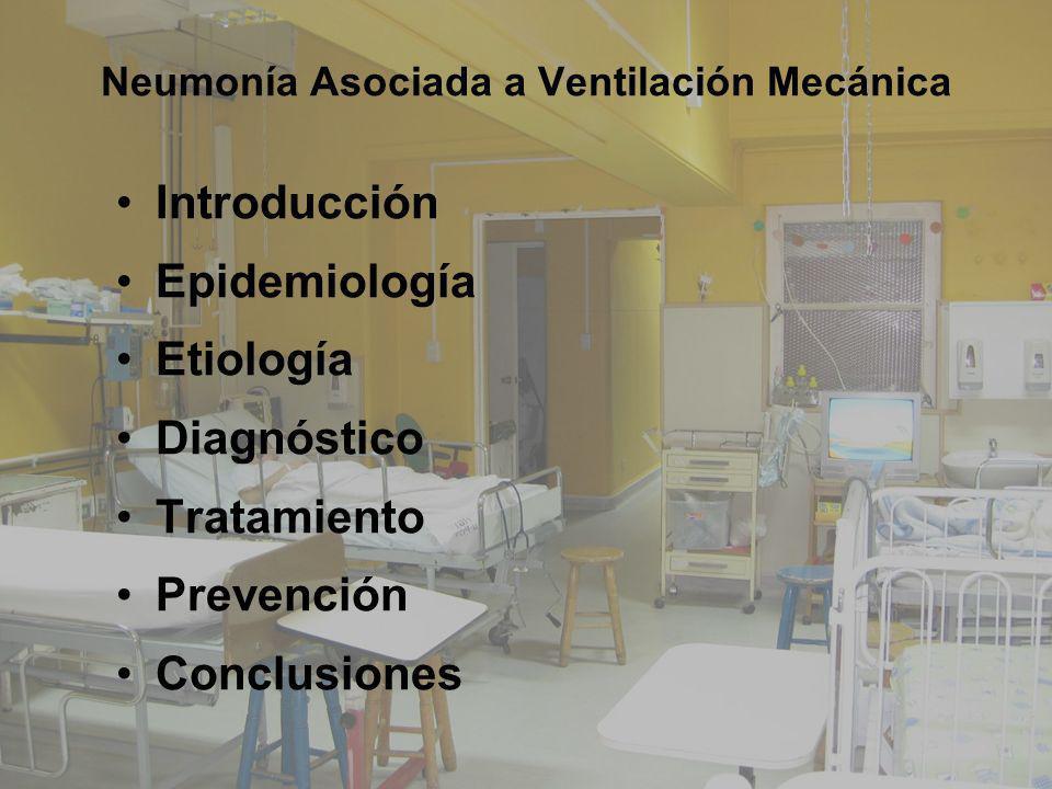 Neumonía Asociada a Ventilación Mecánica Introducción Epidemiología Etiología Diagnóstico Tratamiento Prevención Conclusiones