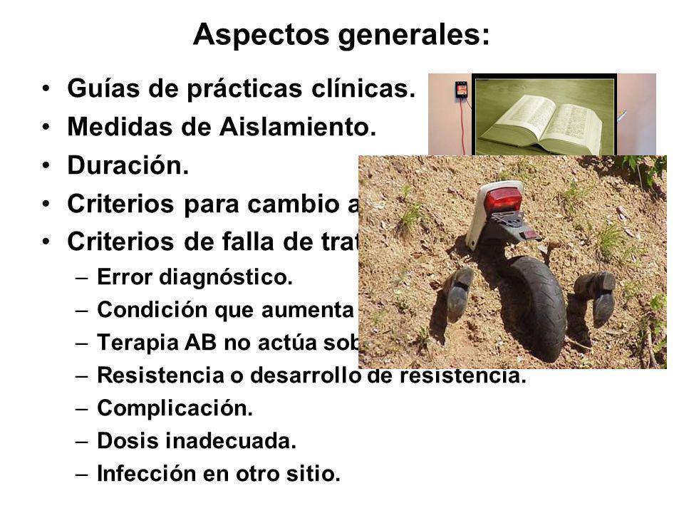 Aspectos generales: Guías de prácticas clínicas. Medidas de Aislamiento. Duración. Criterios para cambio a terapia oral. Criterios de falla de tratami