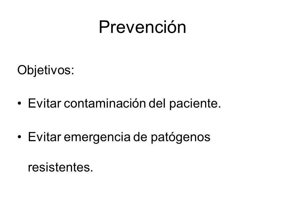 Prevención Objetivos: Evitar contaminación del paciente. Evitar emergencia de patógenos resistentes.