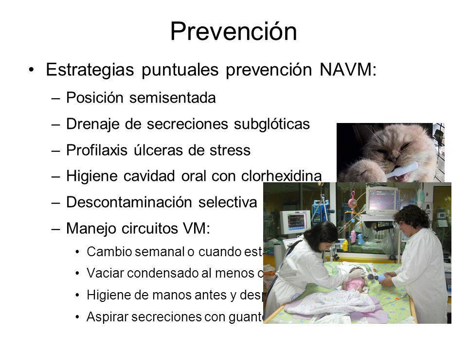 Prevención Estrategias puntuales prevención NAVM: –Posición semisentada –Drenaje de secreciones subglóticas –Profilaxis úlceras de stress –Higiene cav