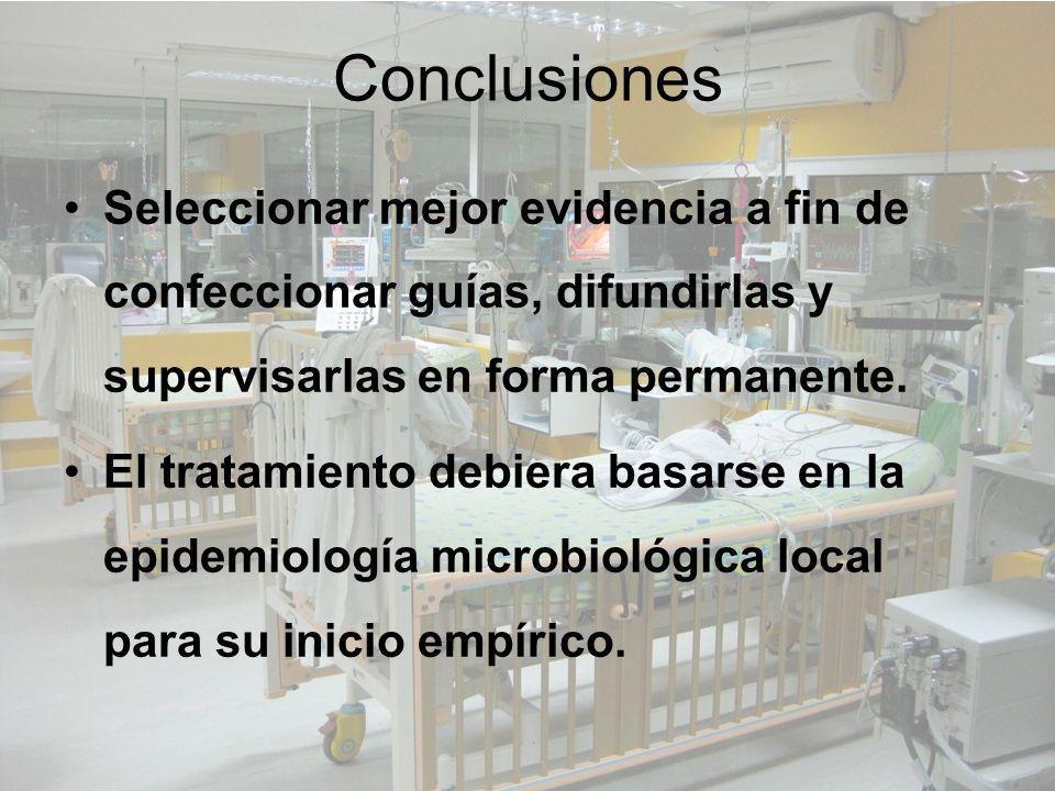 Conclusiones Seleccionar mejor evidencia a fin de confeccionar guías, difundirlas y supervisarlas en forma permanente. El tratamiento debiera basarse