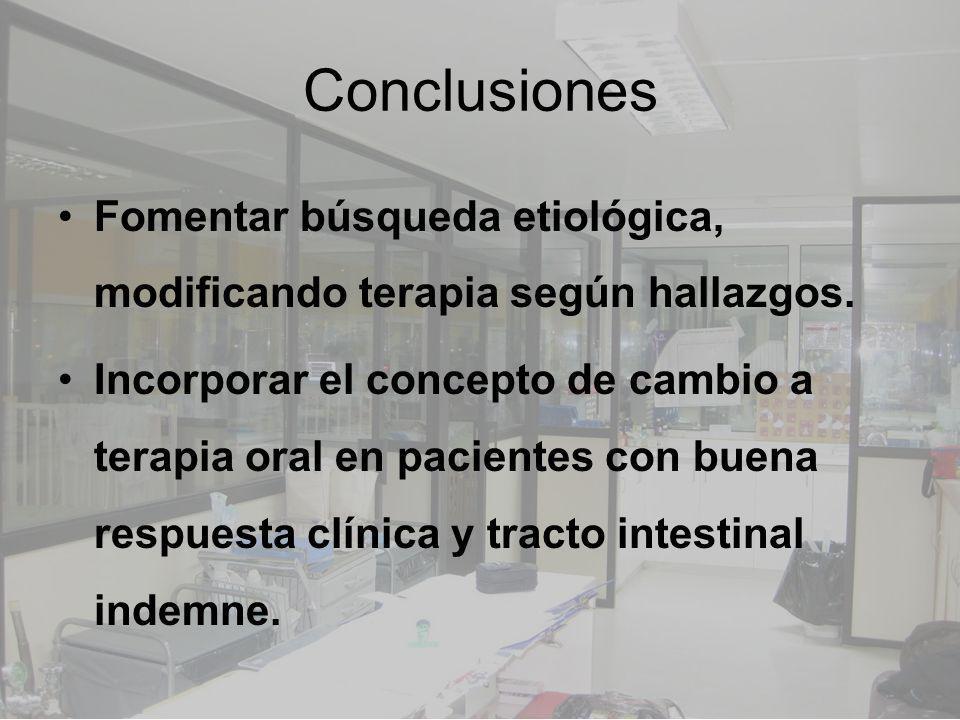 Conclusiones Fomentar búsqueda etiológica, modificando terapia según hallazgos. Incorporar el concepto de cambio a terapia oral en pacientes con buena