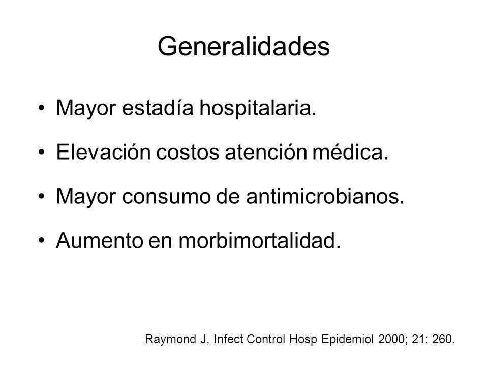 Generalidades Mayor estadía hospitalaria. Elevación costos atención médica. Mayor consumo de antimicrobianos. Aumento en morbimortalidad. Raymond J, I