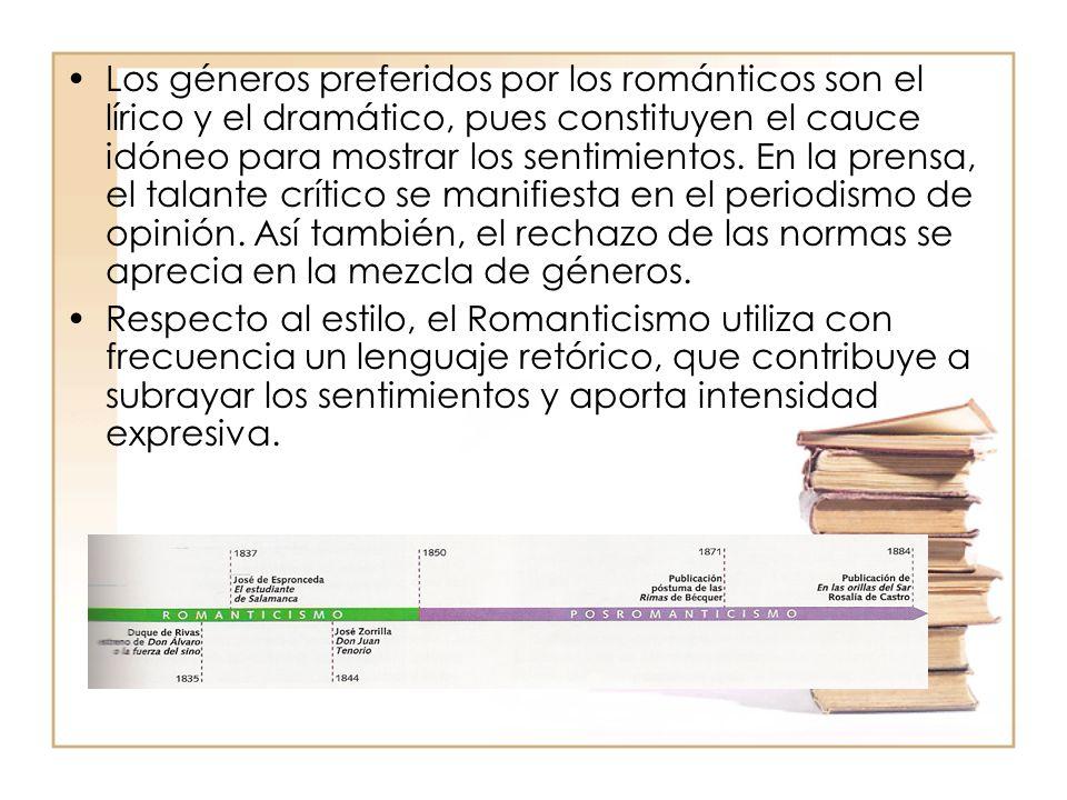 Los géneros preferidos por los románticos son el lírico y el dramático, pues constituyen el cauce idóneo para mostrar los sentimientos. En la prensa,