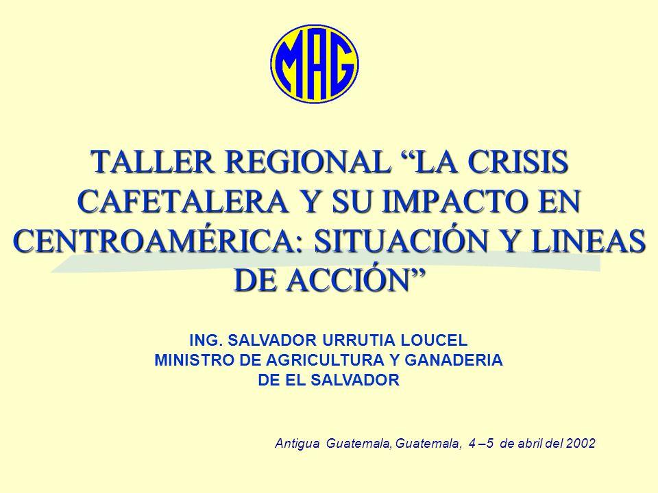 TALLER REGIONAL LA CRISIS CAFETALERA Y SU IMPACTO EN CENTROAMÉRICA: SITUACIÓN Y LINEAS DE ACCIÓN ING. SALVADOR URRUTIA LOUCEL MINISTRO DE AGRICULTURA