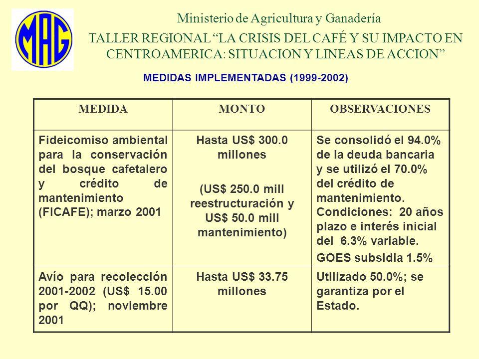 MEDIDAS IMPLEMENTADAS (2001-2002) Ministerio de Agricultura y Ganadería TALLER REGIONAL LA CRISIS DEL CAFÉ Y SU IMPACTO EN CENTROAMERICA: SITUACION Y LINEAS DE ACCION MEDIDAOBSERVACIONES La Asamblea Legislativa de El Salvador ratificó la adhesión al convenio Internacional del Café (OIC); enero 2002 Se proyecta que a partir de octubre 2002, se cumplirán las normas de calidad de la OIC.