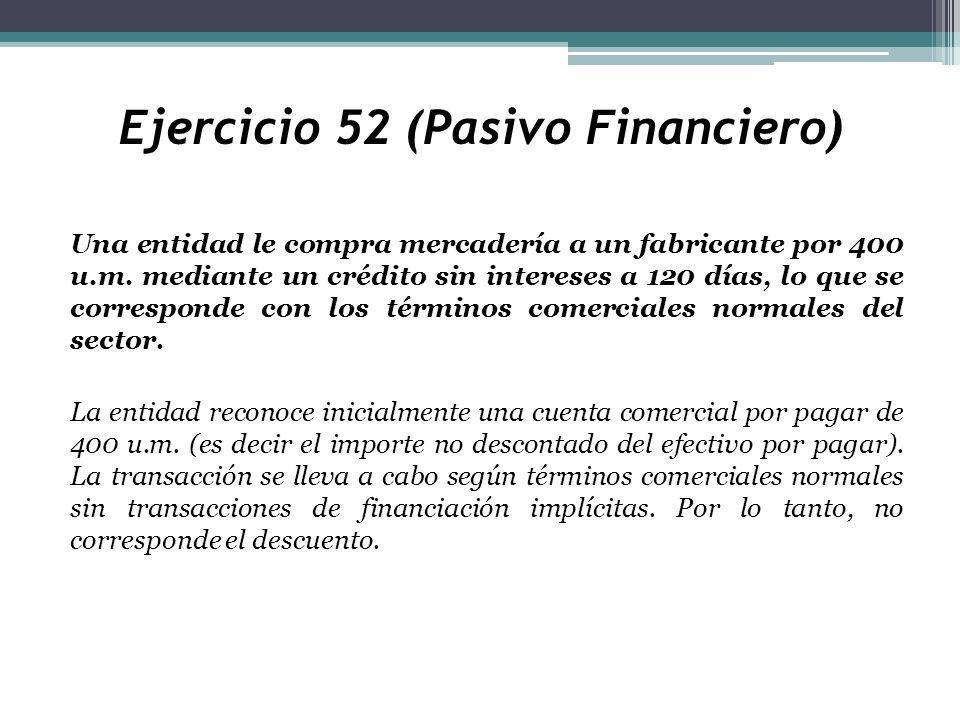 Ejercicio 52 (Pasivo Financiero) Una entidad le compra mercadería a un fabricante por 400 u.m. mediante un crédito sin intereses a 120 días, lo que se