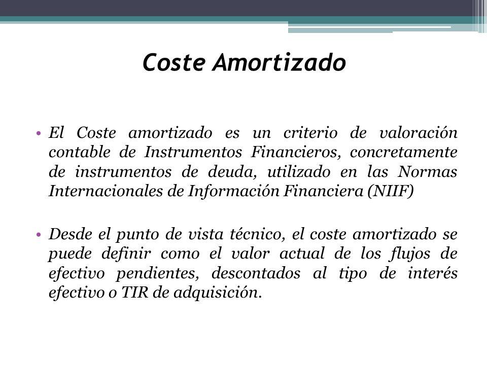 Coste Amortizado El Coste amortizado es un criterio de valoración contable de Instrumentos Financieros, concretamente de instrumentos de deuda, utiliz