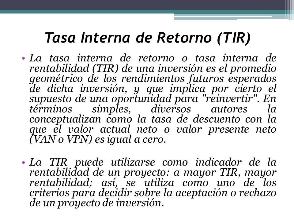 Tasa Interna de Retorno (TIR) La tasa interna de retorno o tasa interna de rentabilidad (TIR) de una inversión es el promedio geométrico de los rendim