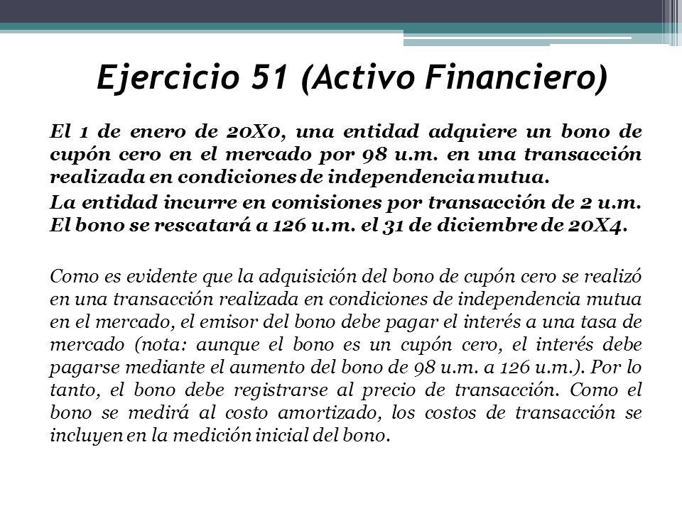 Ejercicio 51 (Activo Financiero) El 1 de enero de 20X0, una entidad adquiere un bono de cupón cero en el mercado por 98 u.m. en una transacción realiz