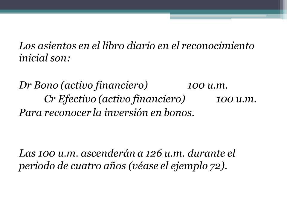 Los asientos en el libro diario en el reconocimiento inicial son: Dr Bono (activo financiero) 100 u.m. Cr Efectivo (activo financiero) 100 u.m. Para r