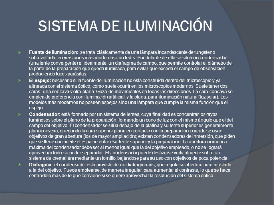 SISTEMA DE ILUMINACIÓN Fuente de iluminación: se trata clásicamente de una lámpara incandescente de tungsteno sobrevoltada; en versiones más modernas
