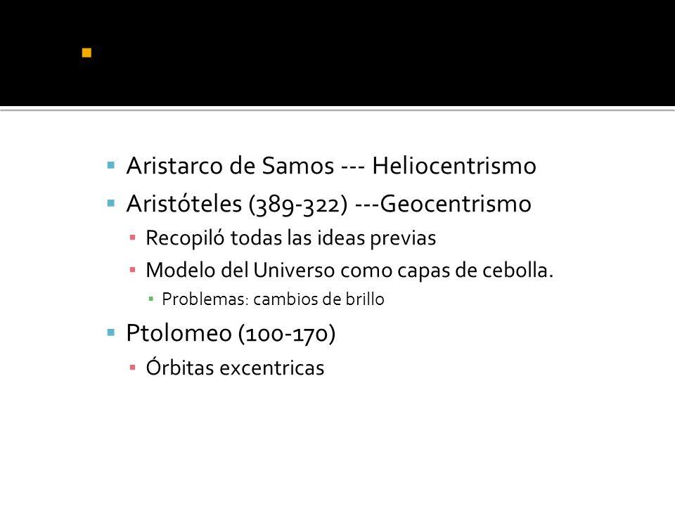 Griegos : nacimiento del pensamiento científico Aristarco de Samos --- Heliocentrismo Aristóteles (389-322) ---Geocentrismo Recopiló todas las ideas previas Modelo del Universo como capas de cebolla.