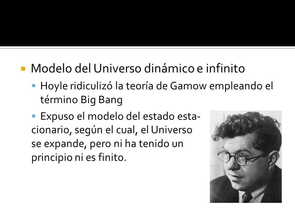 Modelo del Universo dinámico e infinito Hoyle ridiculizó la teoría de Gamow empleando el término Big Bang Expuso el modelo del estado esta- cionario, según el cual, el Universo se expande, pero ni ha tenido un principio ni es finito.