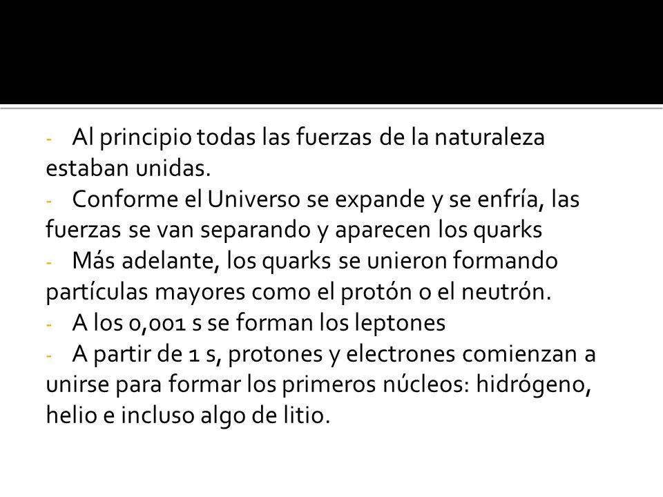 - Al principio todas las fuerzas de la naturaleza estaban unidas.
