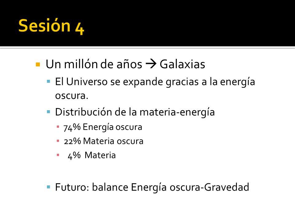 Un millón de años Galaxias El Universo se expande gracias a la energía oscura.