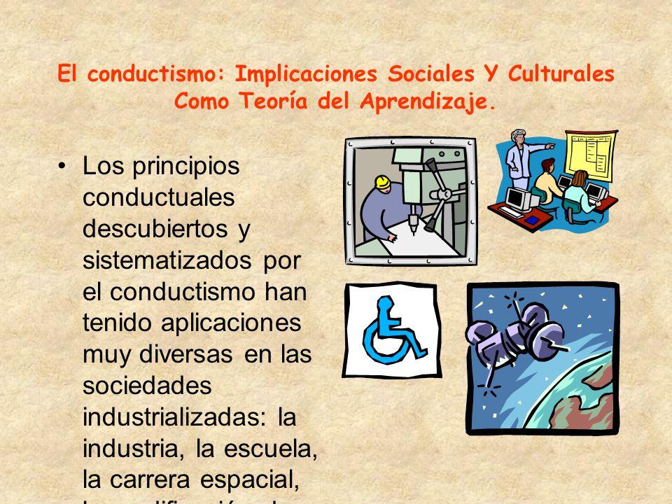 El conductismo: Implicaciones Sociales Y Culturales Como Teoría del Aprendizaje.