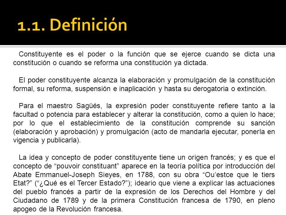 Por regla general, una constitución es el resultado del ejercicio del poder constituyente de los ciudadanos y habitantes del mismo país; esto es del poder constituyente interno.