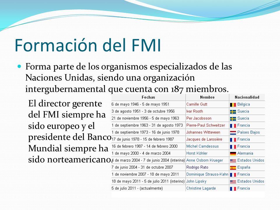Formación del FMI Forma parte de los organismos especializados de las Naciones Unidas, siendo una organización intergubernamental que cuenta con 187 m