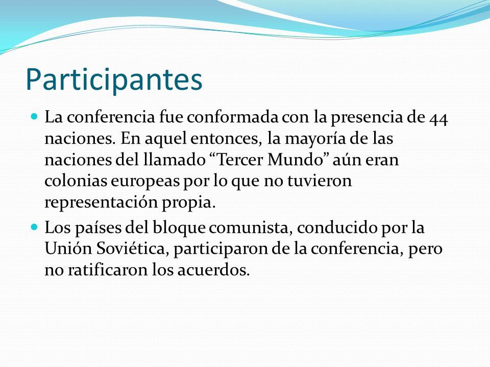 Participantes La conferencia fue conformada con la presencia de 44 naciones. En aquel entonces, la mayoría de las naciones del llamado Tercer Mundo aú