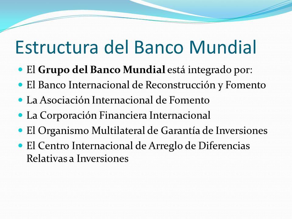Estructura del Banco Mundial El Grupo del Banco Mundial está integrado por: El Banco Internacional de Reconstrucción y Fomento La Asociación Internaci
