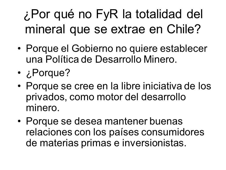 ¿Por qué no FyR la totalidad del mineral que se extrae en Chile? Porque el Gobierno no quiere establecer una Política de Desarrollo Minero. ¿Porque? P