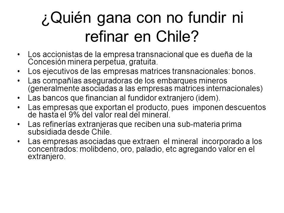 ¿Quién gana con no fundir ni refinar en Chile? Los accionistas de la empresa transnacional que es dueña de la Concesión minera perpetua, gratuita. Los