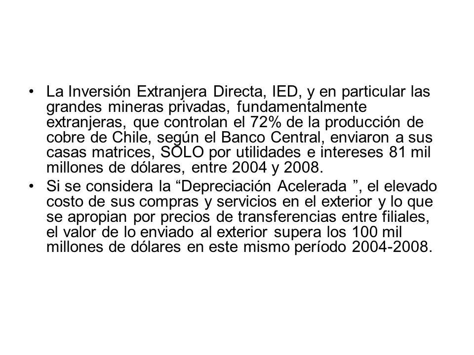 La Inversión Extranjera Directa, IED, y en particular las grandes mineras privadas, fundamentalmente extranjeras, que controlan el 72% de la producció