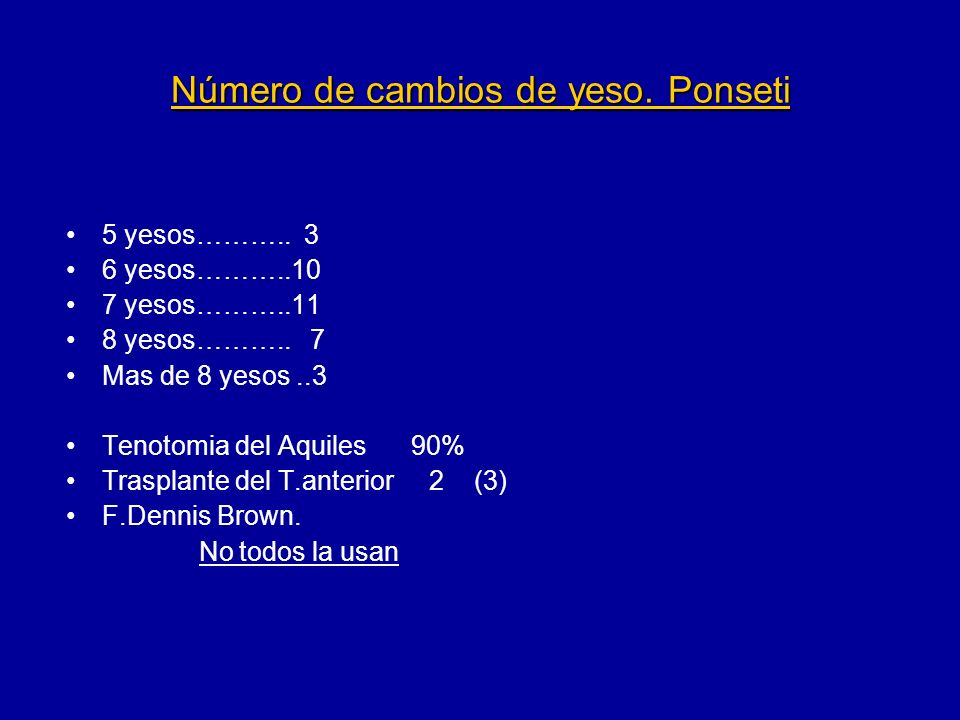 Número de cambios de yeso. Ponseti 5 yesos……….. 3 6 yesos………..10 7 yesos………..11 8 yesos……….. 7 Mas de 8 yesos..3 Tenotomia del Aquiles 90% Trasplante