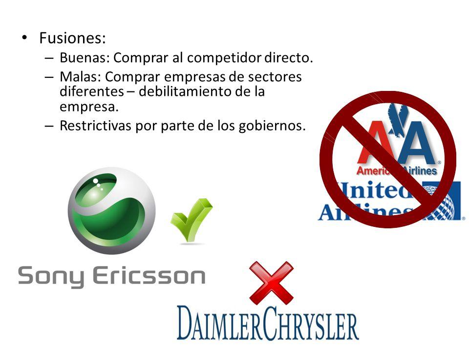 Fusiones: – Buenas: Comprar al competidor directo.